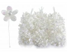 Fiorellino Bianco per bomboniera con perline e paillettes (set da 120)