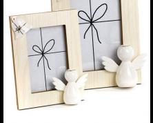 Portafoto in legno e porcellana Angelo Dorato